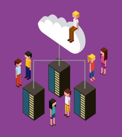 Illustrazione per people working creative process connection data cloud upload vector illustration isometric - Immagini Royalty Free