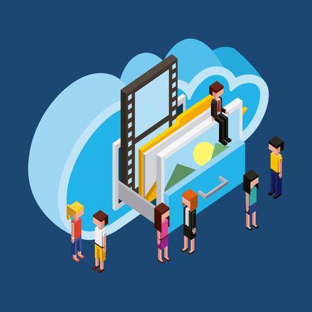 Ilustración de people cloud computing storage drawer photo documents isometric vector illustration - Imagen libre de derechos