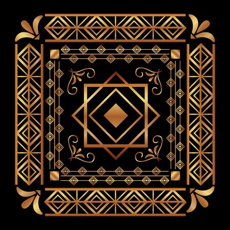 Ilustración de art deco frame vintage ornament abstract motif vector illustration - Imagen libre de derechos