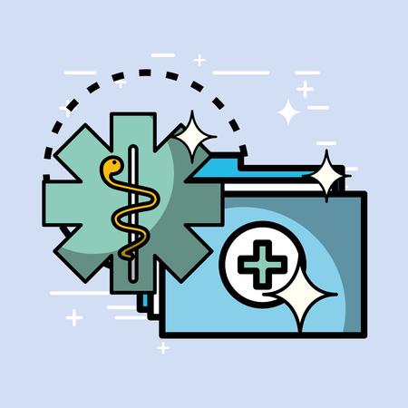 Ilustración de folder report history caduceus health medical vector illustration   - Imagen libre de derechos