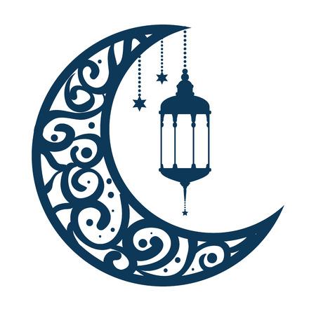 Illustration for ramadan kareem moon with lamps hanging vector illustration design - Royalty Free Image