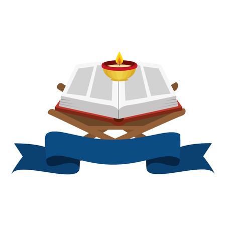 Illustration for sacred book with candles religious icon vector illustration design - Royalty Free Image