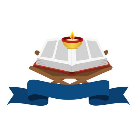 Ilustración de sacred book with candles religious icon vector illustration design - Imagen libre de derechos