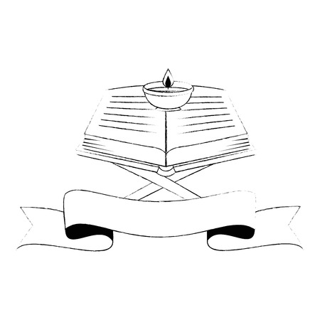 Illustration for sacred book with lectern religious icon vector illustration design - Royalty Free Image