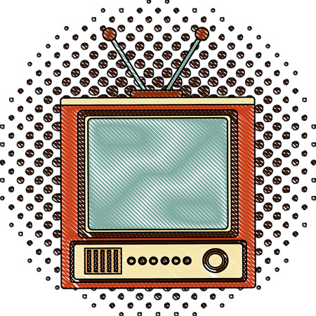 Illustration pour retro television vintage device image vector illustration  halftone drawing - image libre de droit
