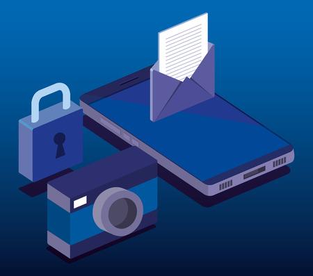 Ilustración de cyber security isometrics icons vector illustration design - Imagen libre de derechos