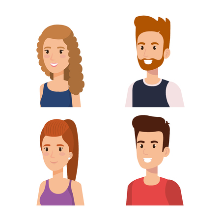Ilustración de group of young people avatars vector illustration design - Imagen libre de derechos