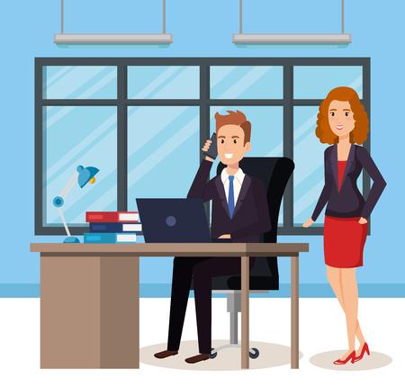 Illustrazione per business people in the office isometric avatars vector illustration design - Immagini Royalty Free