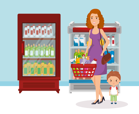 Illustration pour supermarket shelvings with woman buying vector illustration design - image libre de droit