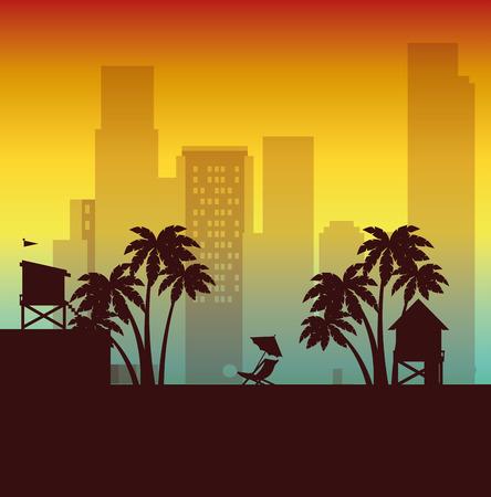 Ilustración de miami beach cityscape scene vector illustration design - Imagen libre de derechos