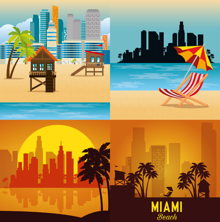 Illustration pour miami beach cityscape set scenes vector illustration design - image libre de droit