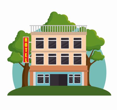 Ilustración de building hotel facade icon vector illustration design - Imagen libre de derechos