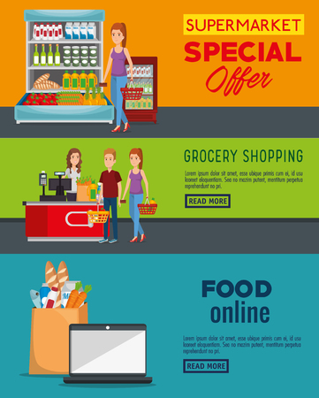 Illustration pour supermarket shelvings with people buying vector illustration design - image libre de droit