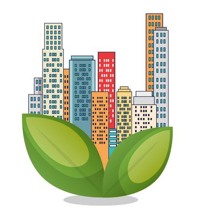 Ilustración de buildings ecology green city scene vector illustration design - Imagen libre de derechos
