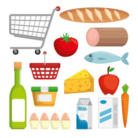 Illustration pour supermarket set products with special offer vector illustration design - image libre de droit