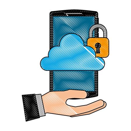 Ilustración de hand holding smartphone with cloud storage cybre security vector illustration - Imagen libre de derechos