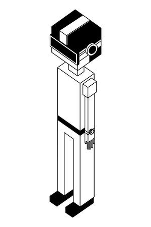 Illustration pour futuristic man with reality virtual mask isometric vector illustration design - image libre de droit