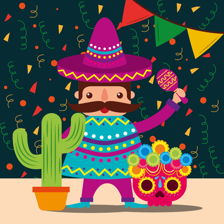 Illustration for mexican man with hat and poncho cactus skull decoration confetti vector illustration - Royalty Free Image