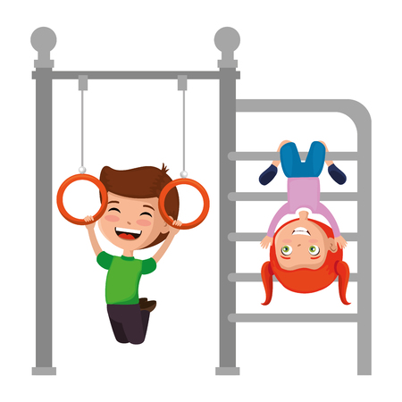 Illustrazione per kids playing in park playground rings hanging vector illustration design - Immagini Royalty Free