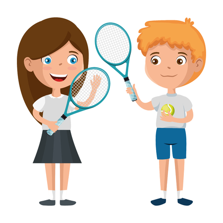 Illustration for little kids couple playing tennis characters vector illustration design - Royalty Free Image