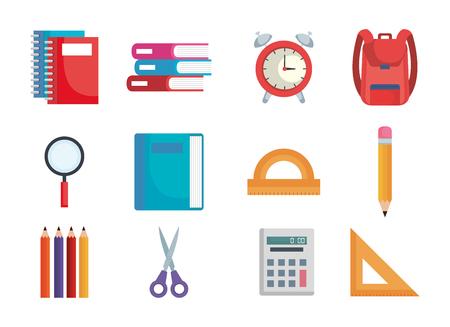 Ilustración de back to school set icons vector illustration design - Imagen libre de derechos