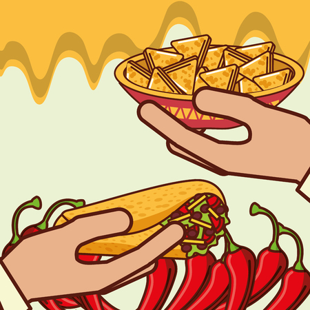 Illustration pour hands with burrito and nachos in bowl mexican food vector illustration - image libre de droit