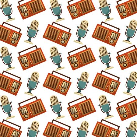 Illustration pour radio and microphone music retro style pattern background vector illustration design - image libre de droit