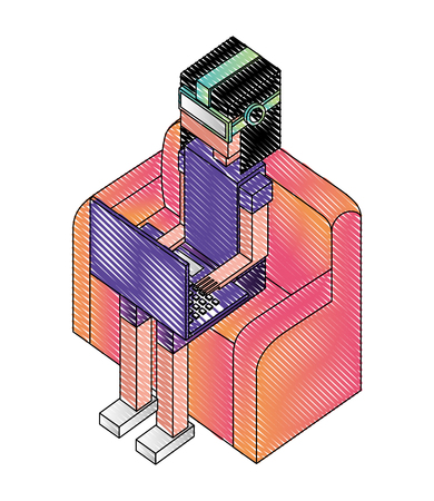 Illustration pour woman sitting using laptop with vr glasses isometric vector illustration - image libre de droit