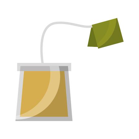 Ilustración de tea bag disposable with label vector illustration - Imagen libre de derechos