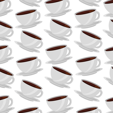 Illustration for white coffee cups on dish background vector illustration - Royalty Free Image