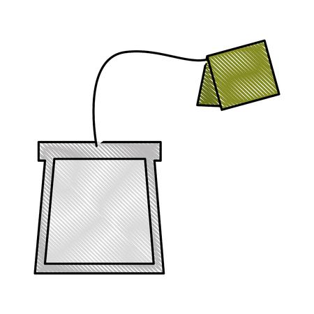 Ilustración de tea bag disposable with label vector illustration drawing - Imagen libre de derechos