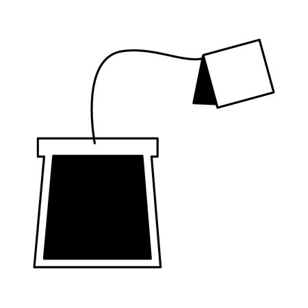 Ilustración de tea bag disposable with label vector illustration black and white black and white - Imagen libre de derechos