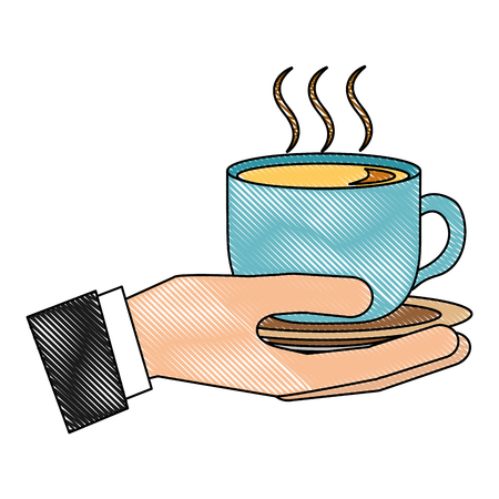 Illustration for hand holding hot coffee cup on dish vector illustration drawing - Royalty Free Image