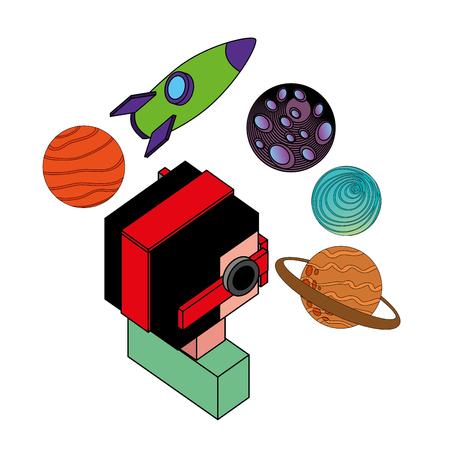 Illustration pour boy using vr goggles looking 3d planets and rocket vector illustration - image libre de droit