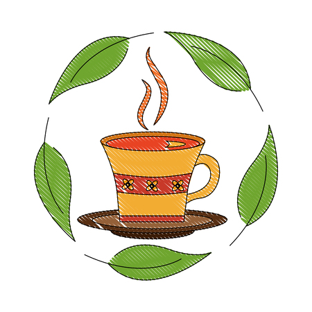 Illustration for delicious herbs tea cup with leafs icon vector illustration design - Royalty Free Image