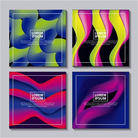 Ilustración de abstract covers fluids mixing neon figures waves degrade background vector illustration - Imagen libre de derechos