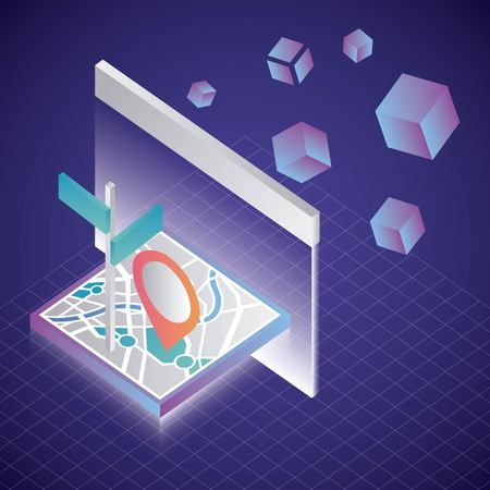 Illustration pour virtual reality isometric screen projecting gps map location destination vector illustration - image libre de droit