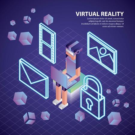 Illustration pour virtual reality isometric geometric floor girl sitting neon padlock message photos vector illustration - image libre de droit