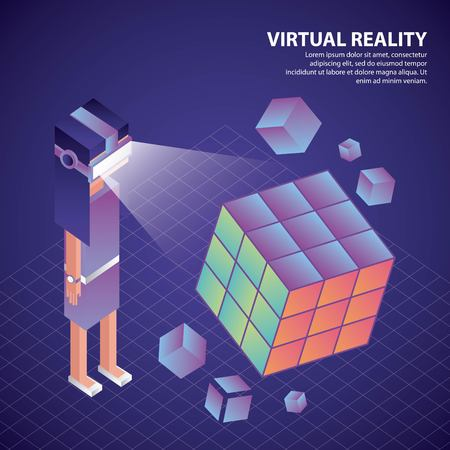 Illustration pour virtual reality isometric boy glasses watching 3d cube vector illustration - image libre de droit