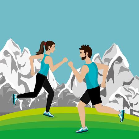 Ilustración de couple running in the landscape vector illustration design - Imagen libre de derechos