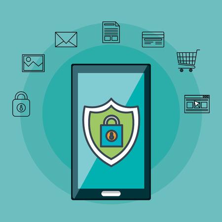 Illustration pour smartphone with online security icons vector illustration design - image libre de droit