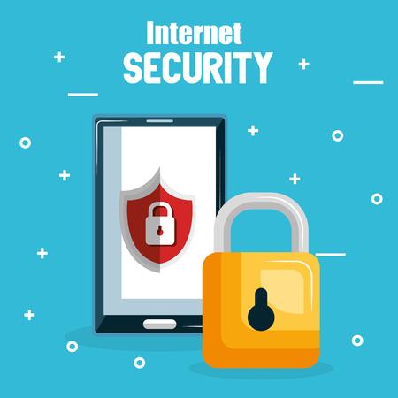 Illustration pour smartphone with internet security icons vector illustration design - image libre de droit