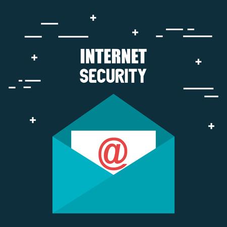 Illustration pour envelope email with internet security icons vector illustration design - image libre de droit