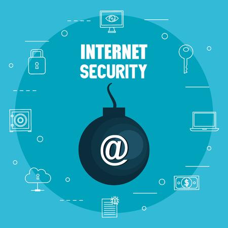 Illustration pour bomb explosive with internet security icons vector illustration design - image libre de droit