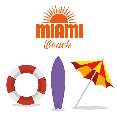 Ilustración de miami beach summer icons vector illustration design - Imagen libre de derechos