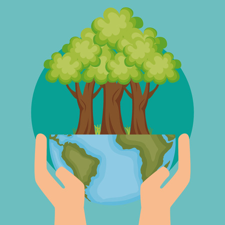Illustration for world planet with tree ecology icon vector illustration design - Royalty Free Image