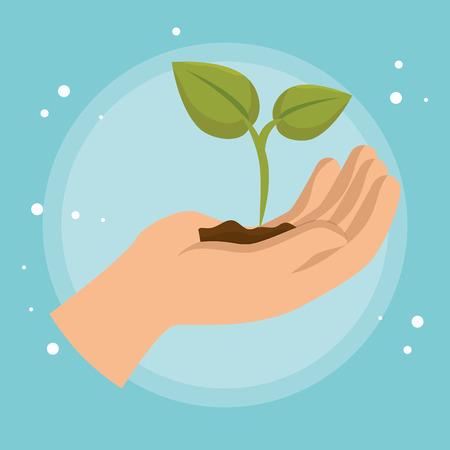 Ilustración de hand lifting plant ecology icon vector illustration design - Imagen libre de derechos