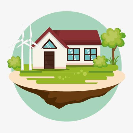 Ilustración de house with save the world icons vector illustration design - Imagen libre de derechos