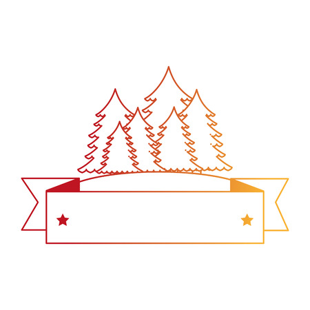 Illustration for pines trees forest scene with tape frame vector illustration design - Royalty Free Image