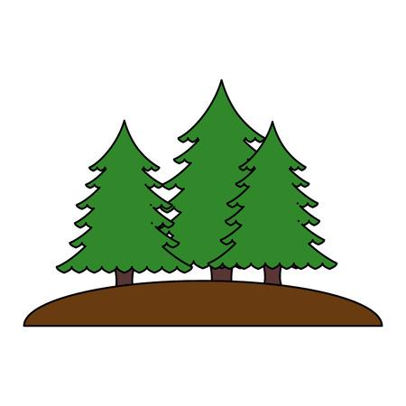 Illustration for pines trees forest scene vector illustration design - Royalty Free Image